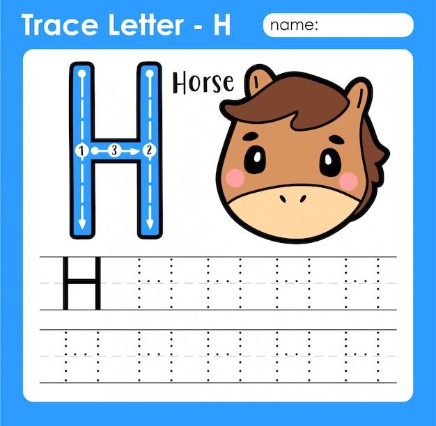 Großbuchstabe buchstabe h - arbeitsblatt zur verfolgung von buchstaben für buchstaben mit pferd Premium Vektoren