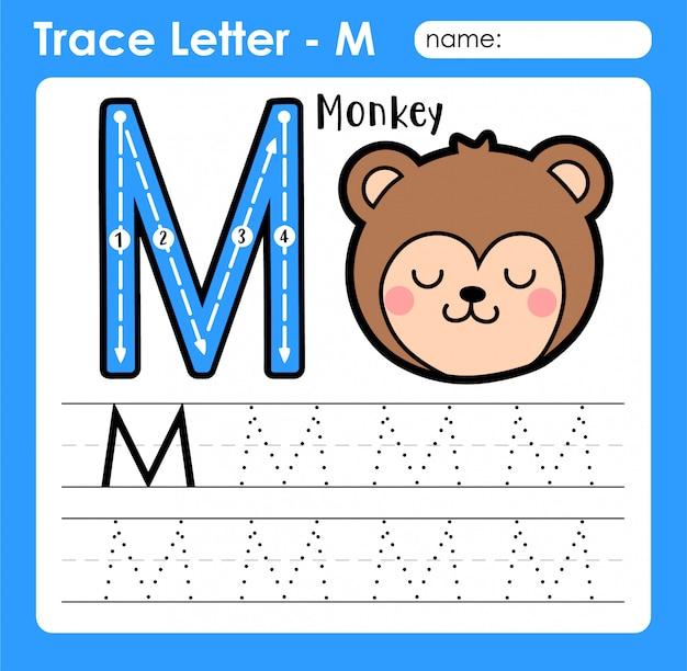 Großbuchstaben für buchstaben m - arbeitsblatt zur verfolgung von buchstaben mit alphabet mit monkey Premium Vektoren