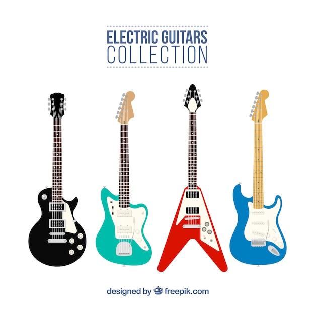 Große auswahl an e-gitarren in flachem design Kostenlosen Vektoren