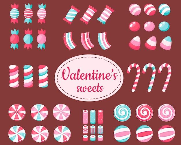 Große auswahl an süßigkeiten und bonbons zum valentinstag Premium Vektoren