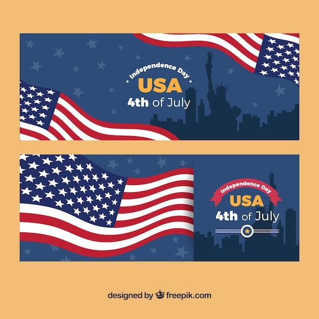 gro e banner mit amerikanischer flagge und silhouetten f r. Black Bedroom Furniture Sets. Home Design Ideas
