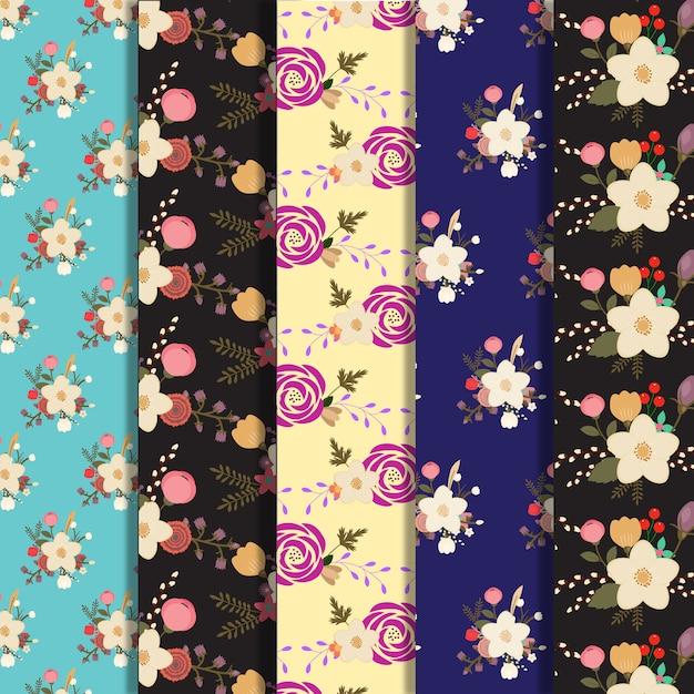 Große Blumen Muster Hintergrund Sammlung Kostenlose Vektoren