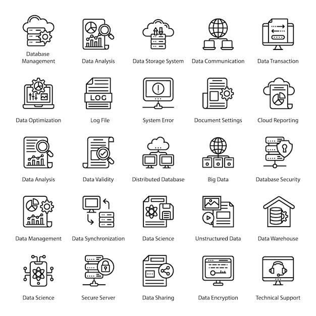 Große datenleitung icons set Premium Vektoren