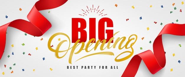 Große eröffnung, beste party für alle festlichen banner mit konfetti und roten streamer Kostenlosen Vektoren