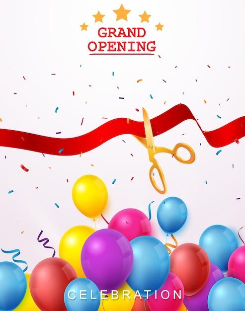 Große eröffnungsfeier mit buntem ballon und konfetti Premium Vektoren