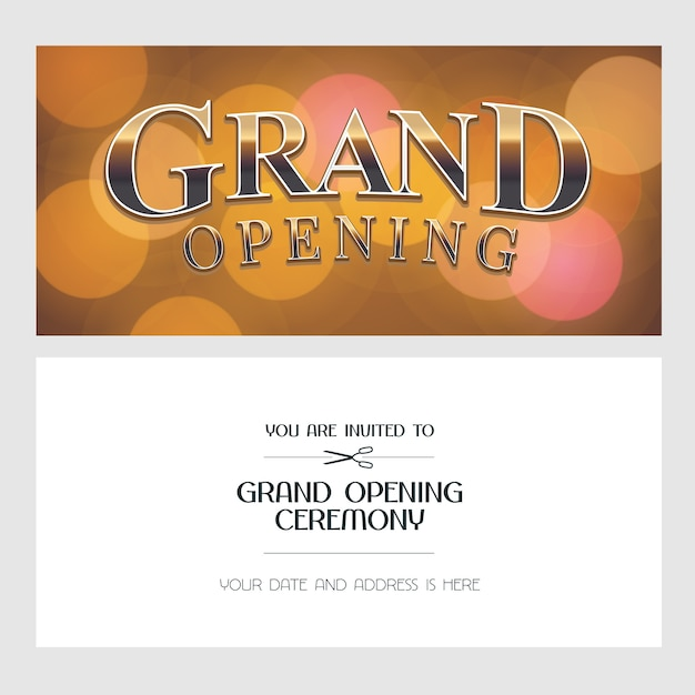Große eröffnungsillustration, hintergrund, einladungskarte. vorlagenbanner, laden zur eröffnungsfeier mit goldenem zeichen ein Premium Vektoren