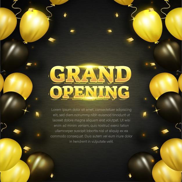 Große eröffnungskarte mit goldener ballondekoration Premium Vektoren