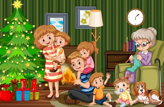 Große familie, die weihnachten feiert Premium Vektoren