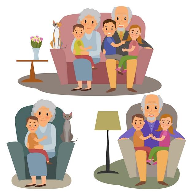 Große familie festgelegt Premium Vektoren