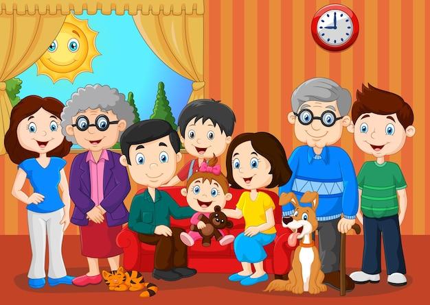 Große familie mit großeltern Premium Vektoren