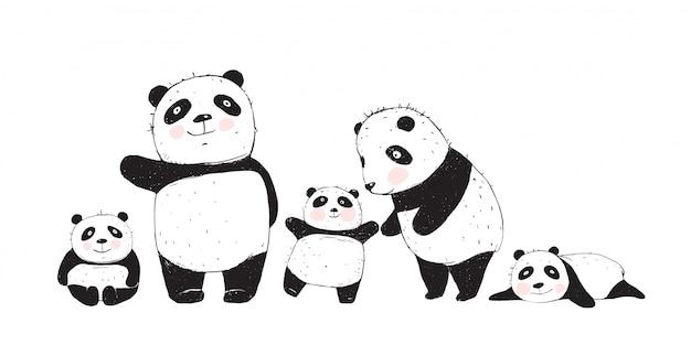 Große familie von pandas eltern und kindern Premium Vektoren