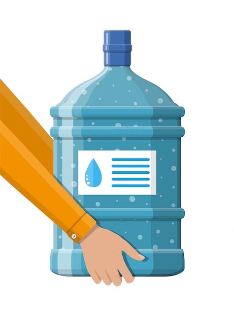 Große flasche mit sauberem wasser für kühler in der hand Premium Vektoren