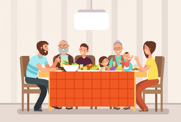 Große glückliche familie, die zusammen das mittagessen in der wohnzimmerkarikaturillustration isst Premium Vektoren