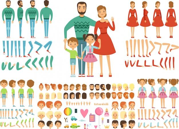 Große, glückliche familie Premium Vektoren