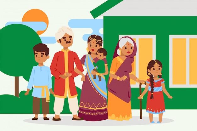 Große glückliche indische familie in der nationalkostümvektorillustration. eltern, großmutter und kinder zeichentrickfiguren. Premium Vektoren