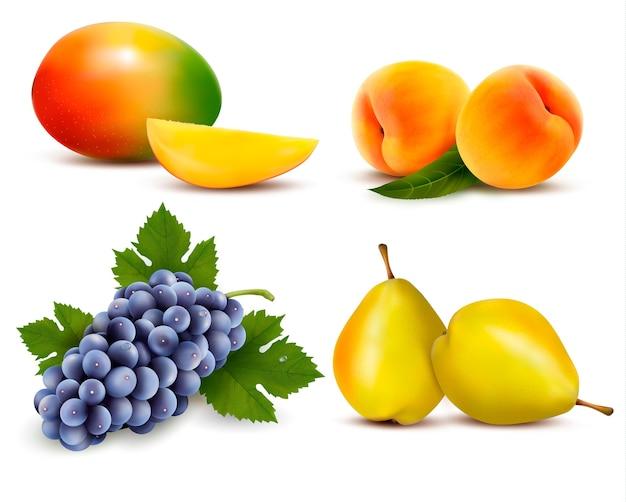 Große gruppe verschiedener früchte. Premium Vektoren