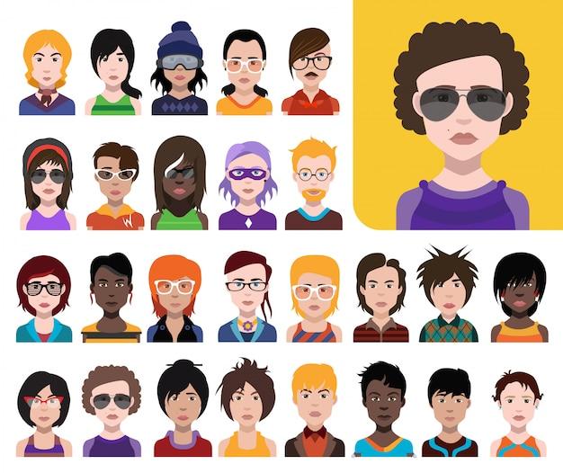 Große gruppe von menschen avatare im flachen stil vector frauen, männer mit farbigem hintergrund Premium Vektoren