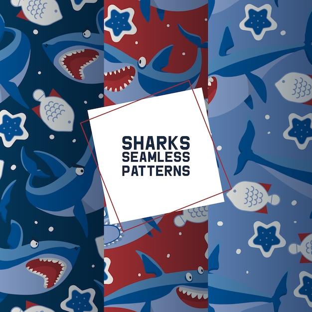 Große haifische eingestellt von den nahtlosen mustern Premium Vektoren