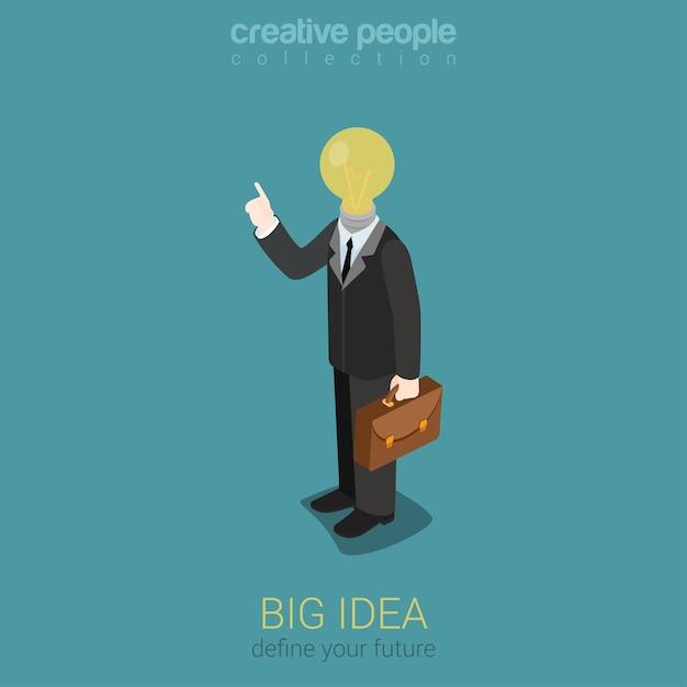 Große idee kreative glühbirne flache 3d-web Kostenlosen Vektoren