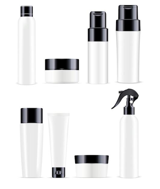 Große kosmetische flaschen packen in schwarzweiss-farbe Premium Vektoren