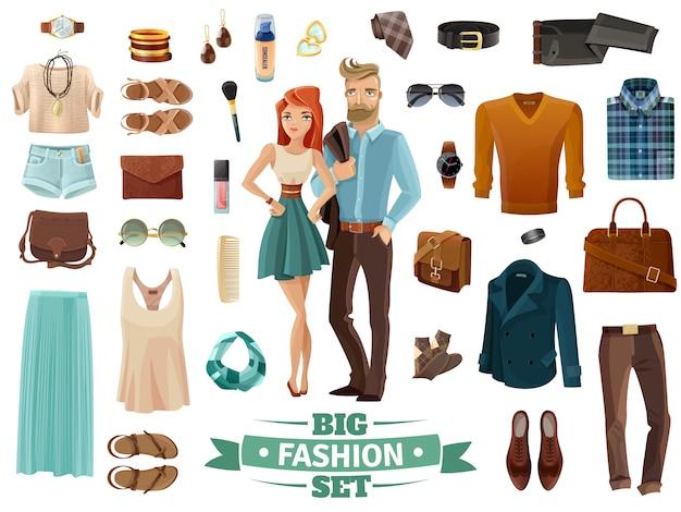 Große mode eingestellt Kostenlosen Vektoren