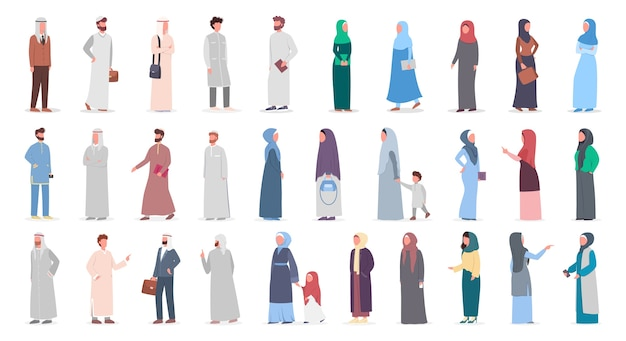 Große muslime setzen ein. arabische frauen- und mannsammlung in verschiedenen anzügen und traditioneller kleidung. frau, die hijab trägt. islam religion. illustration Premium Vektoren