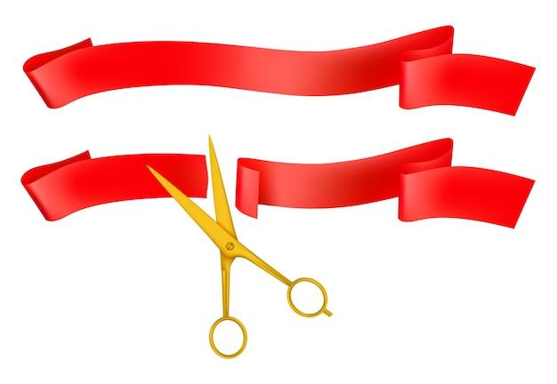 Große öffnung isolierte ikone der goldenen schere, die rotes band schneidet. Premium Vektoren