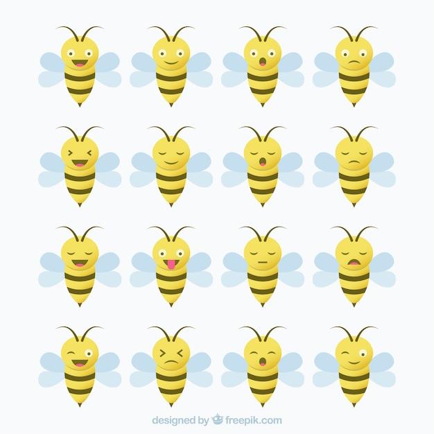 gro e packung von biene emojis download der kostenlosen vektor. Black Bedroom Furniture Sets. Home Design Ideas
