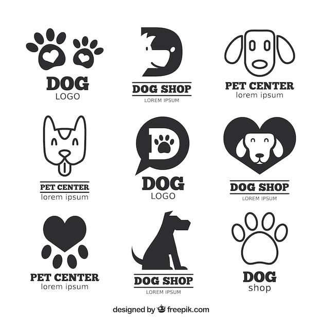 Große Packung von flachen Logos mit Hunden und Spuren Kostenlose Vektoren