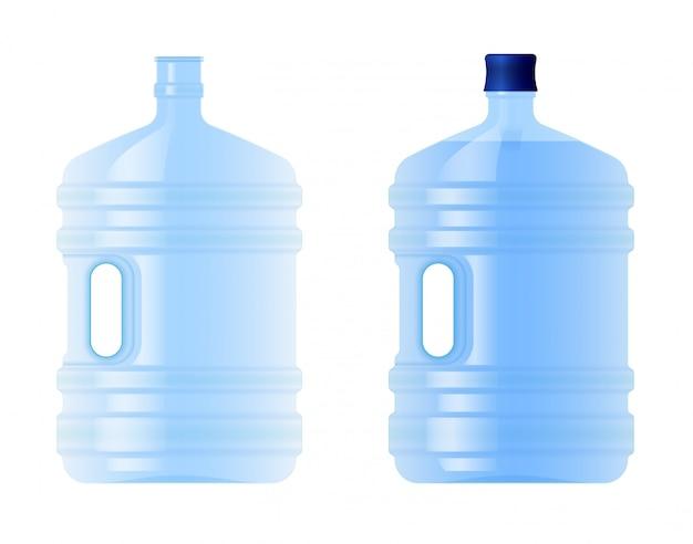 Große plastikflasche mit wasser. volumen fünf gallonen. quelle oder gereinigtes wasser reinigen. leer und voll. Premium Vektoren