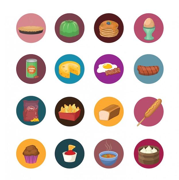 Große reihe von lebensmitteln icons Premium Vektoren