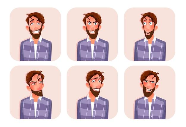 Große reihe von männlichen emoticons. Premium Vektoren