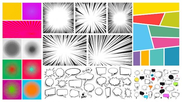 Große reihe von pop-art-comic-sprechblase sand, radiale linien für comics Premium Vektoren