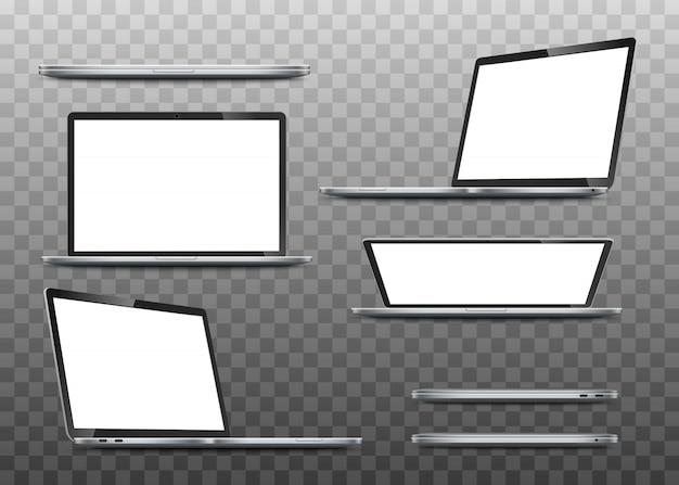 Große sammlung modelle realistischer laptops. Premium Vektoren