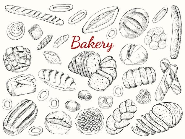 Große sammlung von bäckerei Premium Vektoren