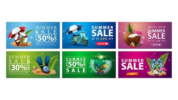 Große sammlung von bunten sommerrabattbannern mit sommerelementen Premium Vektoren