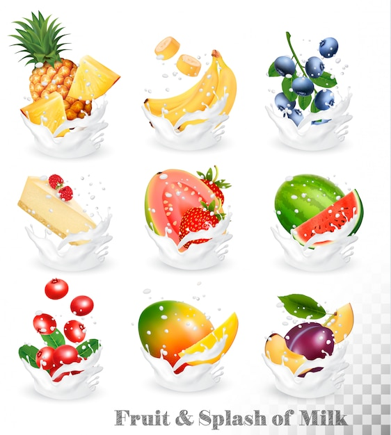 Große sammlung von früchten in einem milchspritzer. ananas, mango, banane, birne, wassermelone, blaubeere, guave, erdbeere, käsekuchen, erdbeere, himbeere. set 10. Premium Vektoren
