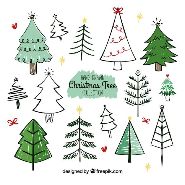 gro e sammlung von hand gezeichnet weihnachtsb ume. Black Bedroom Furniture Sets. Home Design Ideas