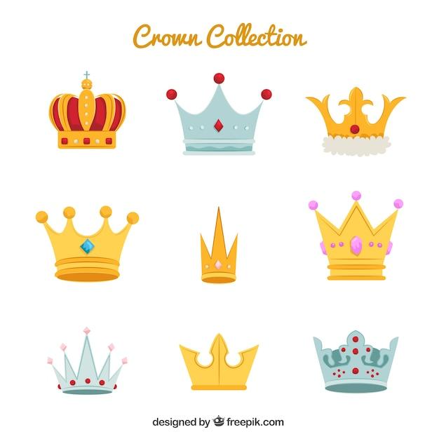 Große sammlung von verschiedenen krone und diademen Kostenlosen Vektoren