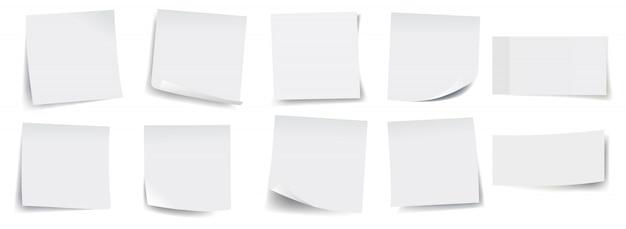 Große sammlung von weißen haftnotizen Premium Vektoren