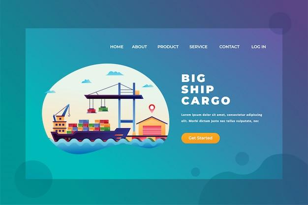 Große schiffsladung für internationale versandzustellung und fracht-webseiten-titel-landing page template illustration Premium Vektoren