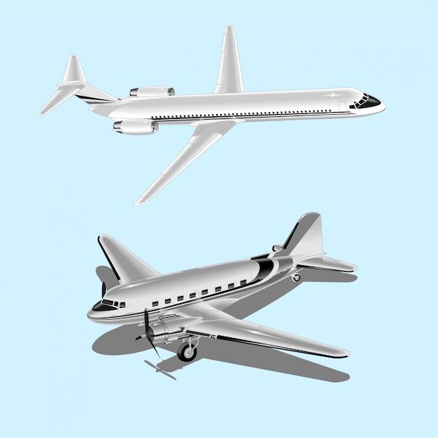 Große schöne flugzeuge Premium Vektoren