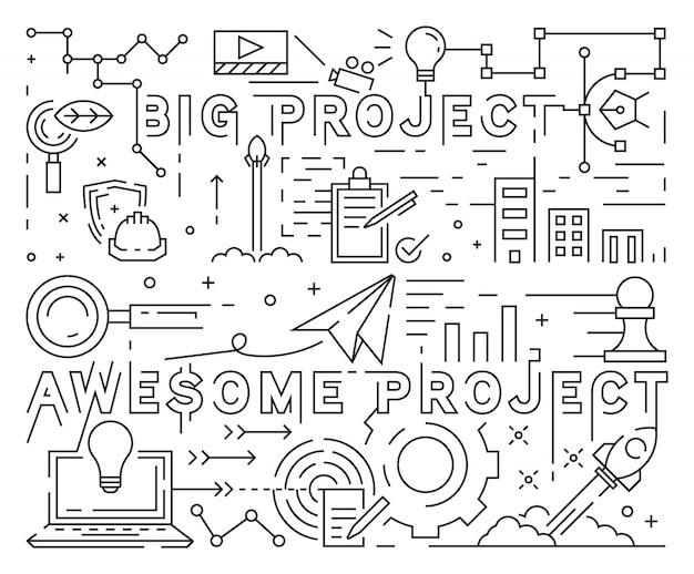 Große und großartige projektlinie art design Premium Vektoren