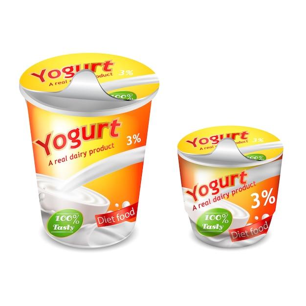 Große und kleine plastikbecher für joghurt Kostenlosen Vektoren
