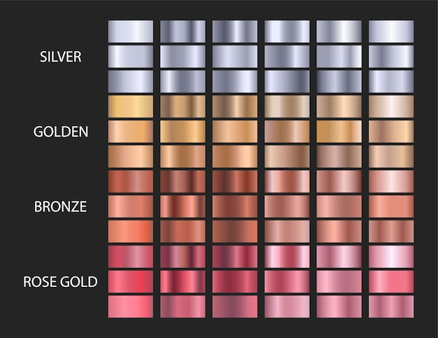 Große vektorsätze metallische farbverläufe, gold, silber, bronze, roségold. Premium Vektoren