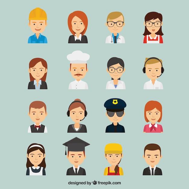 Große vielfalt der arbeiter avatare Kostenlosen Vektoren