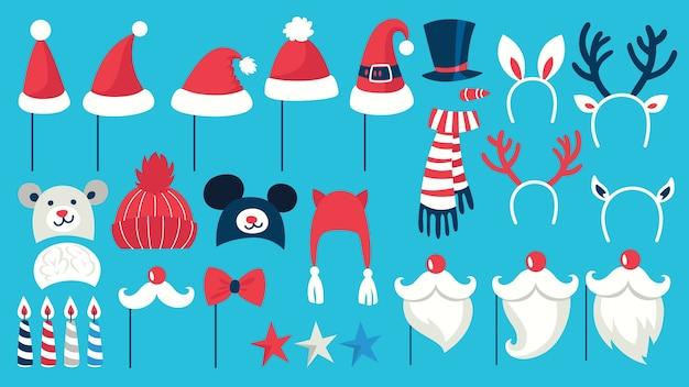 Große weihnachtsfeier requisiten für photobooth set. sammlung von hut, maske und anderen dekorationen zum spaß. weihnachtsmütze und schnurrbart. illustration Premium Vektoren