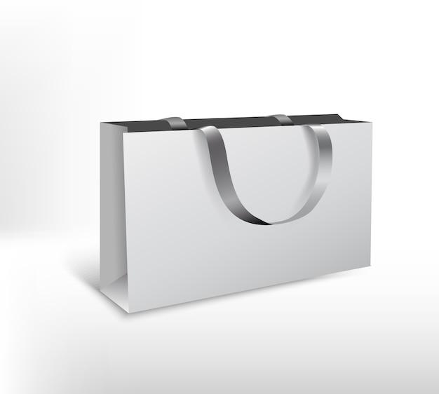 Große weiße papiertüten mit seidenseil. hochauflösende 3d-illustration. auf weißem hintergrund isoliert. Premium Vektoren