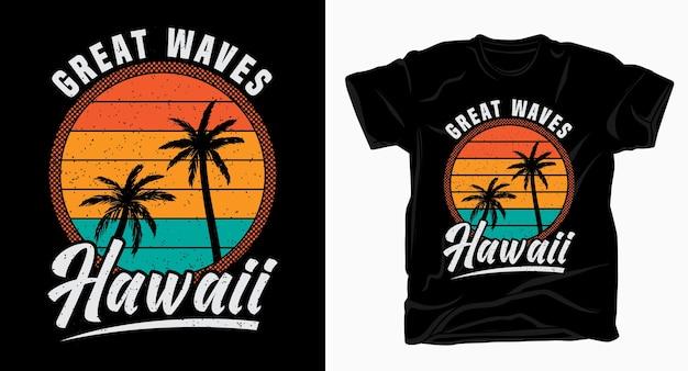 Große wellen hawaii vintage typografie design für t-shirt Premium Vektoren