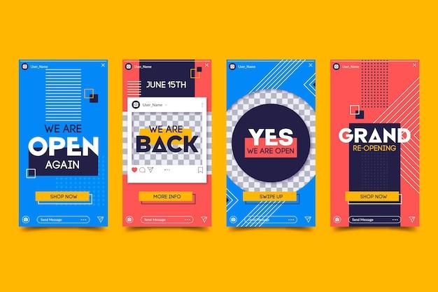 Große wiedereröffnung instagram geschichten design Kostenlosen Vektoren
